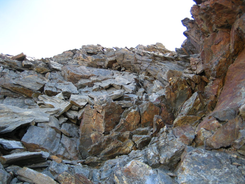 The terrain in the upper third of the ridge, where flying rocks are rife