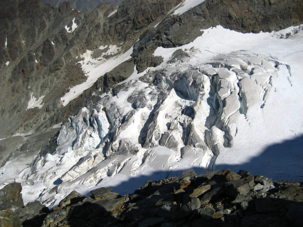 Nicely crevassed Fletschhorn Glacier from the middle part of the WSW ridge