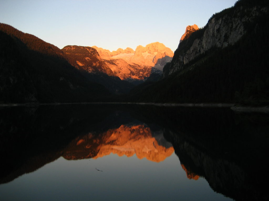 Dachstein from Vorderer Gosausee in the evening